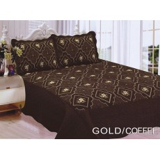 Polysilk Quilt Gold - Coffee