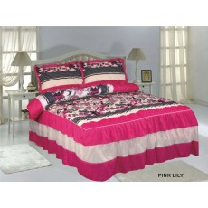 Ruffle Bedspread Pink Lily