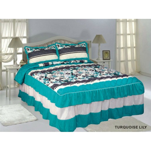 Ruffle Bedspread Turquoise Lily