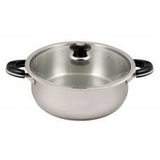 Stainless Steel Low Pot With Glass Lid - 8Qt - 10Qt