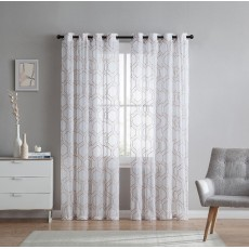 Mabel Sheer Embroidered Grommer Curtain Panel